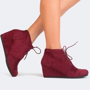 Shoes - Burgundy Lace Up Wedge Heel Booties